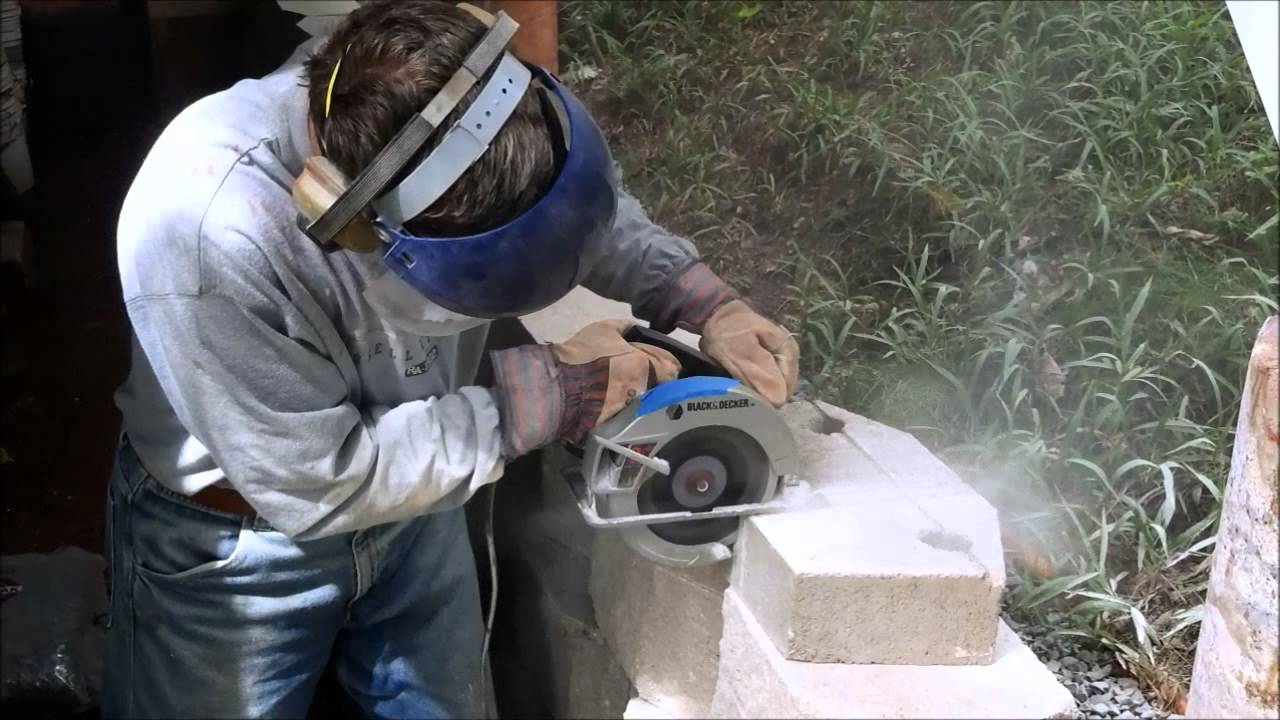 Cutting Retaining Wall Cap Block Youtube