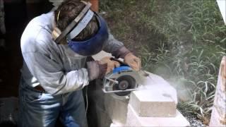 Cutting Retaining Wall Cap Block