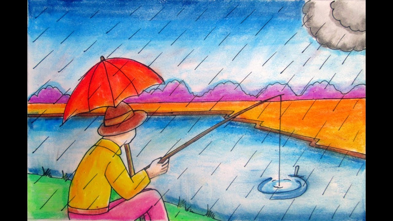 Rainy season drawing fisher man fishing in the river for Fish scenery drawing