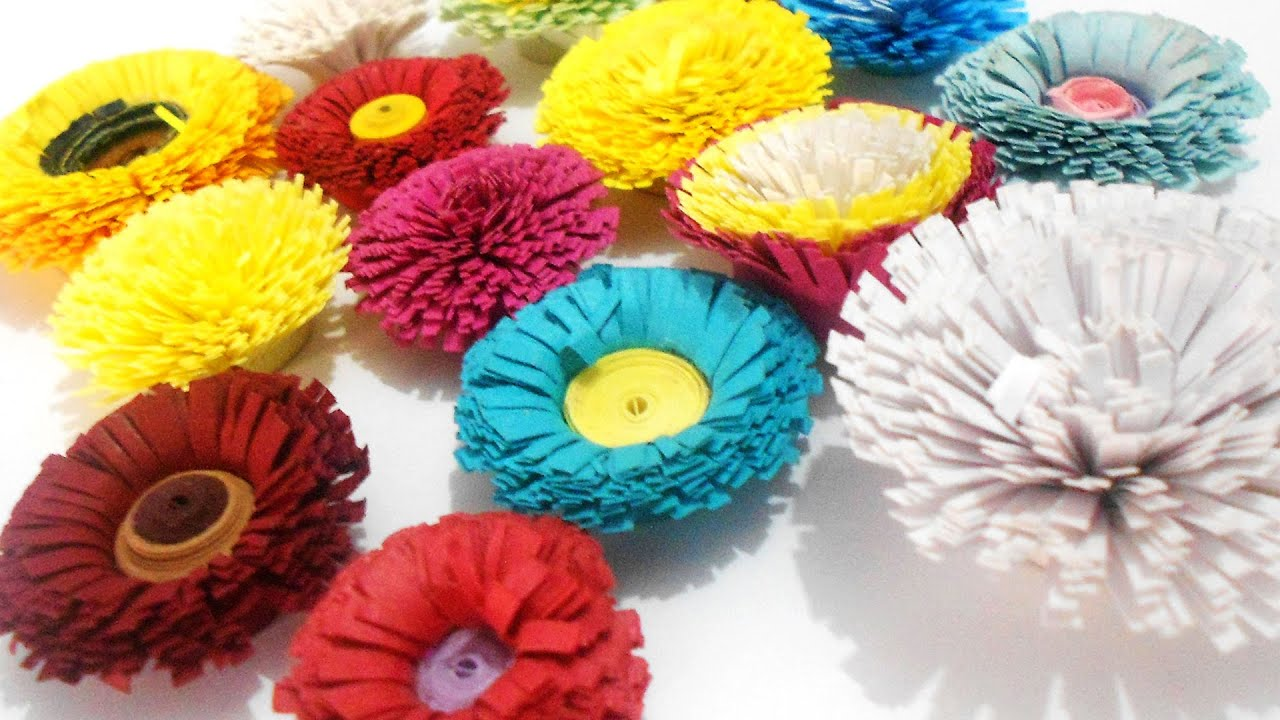 Papercraft how to make quilling pom poms flower