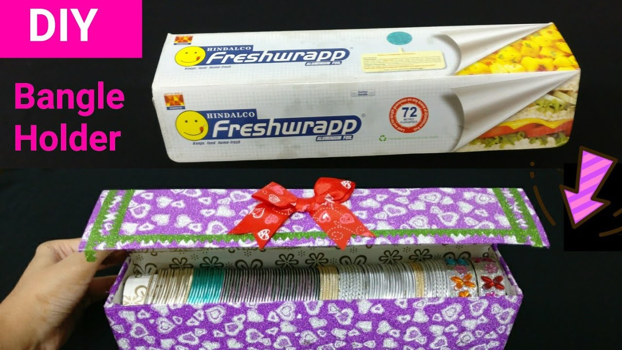 How to make bangle holder from freshwrapp best out of for Best out of waste ideas from bangles