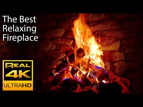 4K Relaxing Fireplace with Crackling Fire Sounds 🔥 - No Musi