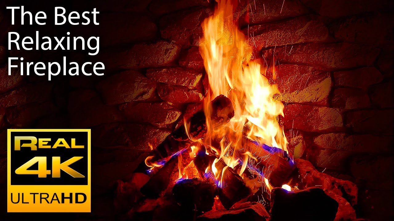 4K Relaxing Fireplace with Crackling Fire Sounds  - N ...