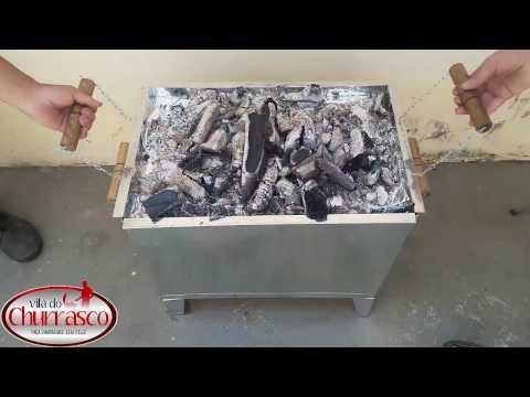churrasqueira-caixa-chinesa,-carvão-por-cima,-carvão-invertido,-costela-invertida