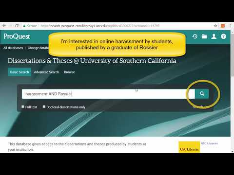 Searching ProQuest For USC Dissertations