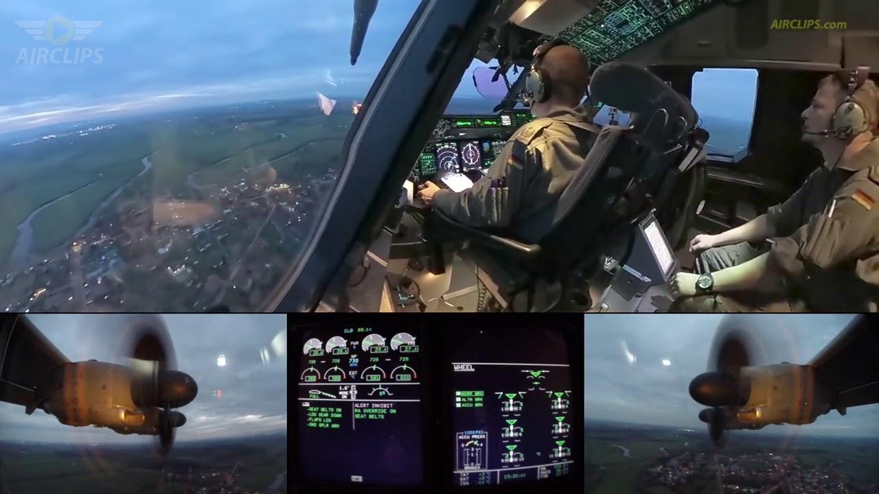 Luftwaffe A400M Cockpit Landing: Brand new heavy transport, top modern flight deck!  [AirClips]
