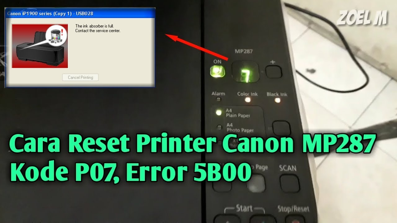 Canon mp287 printer error 5b00