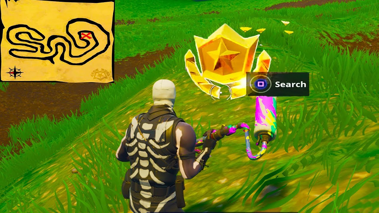 Follow The Treasure Map Found In Salty Springs Location Fortnite