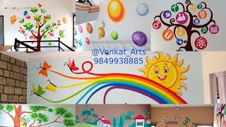 How to Decorate School, Play School Wall Painting Ideas, 9849938885, Drawings, School Wall Painting