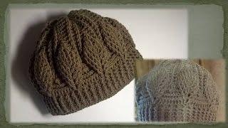 Шапочка с  объемными  листьями крючком/Crochet hat