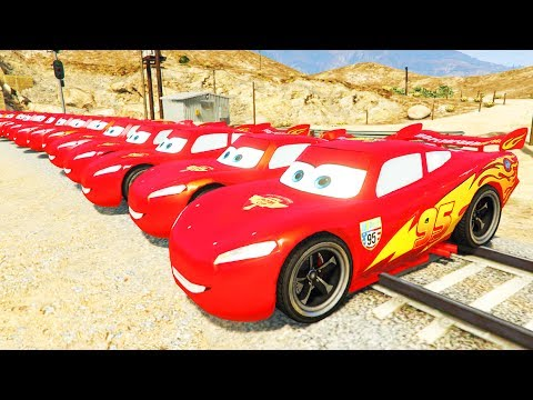 20 Lightning McQueen cars in Trouble with Train - Car Crash Cartoon with Superhero Spiderman