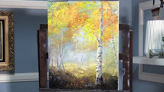 Easiest Abstract Birch Tree Landscape