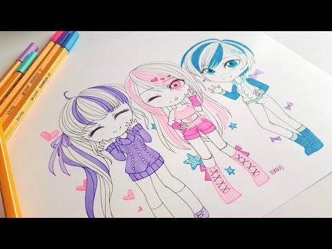 Chibi Pop Stars - Sketch and Ink Speedpaint ♡ iiKiui