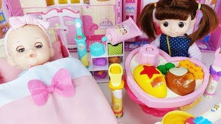 Baby doll Princess brushing Teeth and food surprise eggs cooking toys play - 토이몽