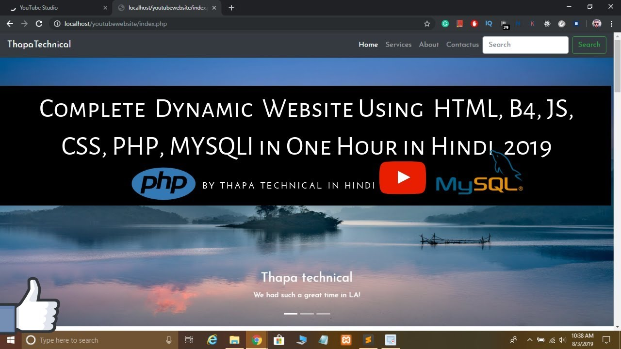 Create Complete Responsive Dynamic Website In Html Php Mysql In Hindi Youtube
