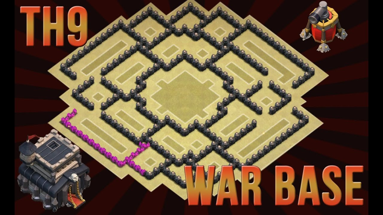 Of clans epic th9 war base with replay air sweeper youtube