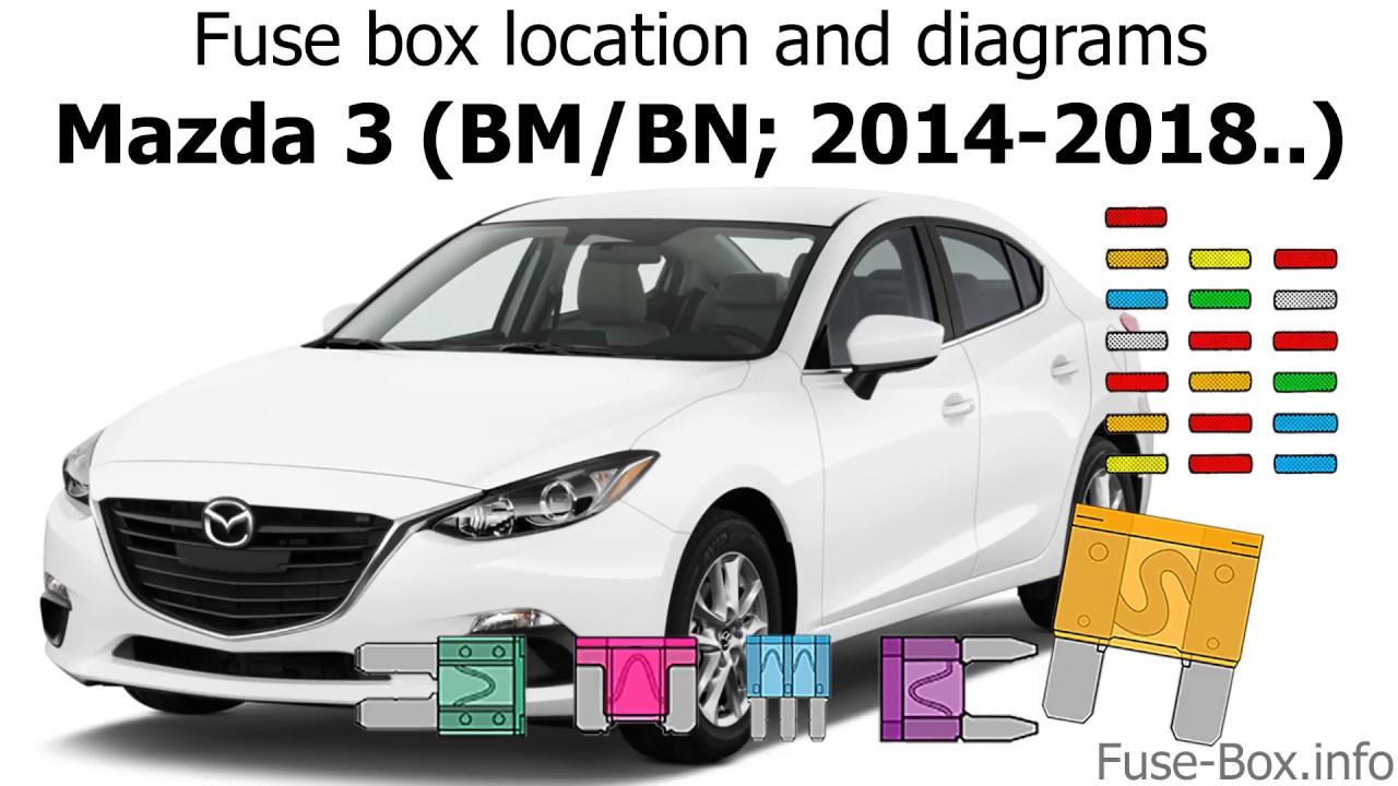 medium resolution of fuse box location and diagrams mazda 3 bm bn 2014 2018 youtube 2014 mazda 3 gt fuse box diagram