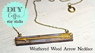 DIY coffee stir stick necklace, weathered wood paint finish + weight loss tips
