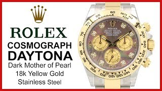 ▶ Rolex Daytona: Two Tone 18k Yellow Gold/Steel; Diamond, Dark Mother of Pearl Dial REVIEW -116503
