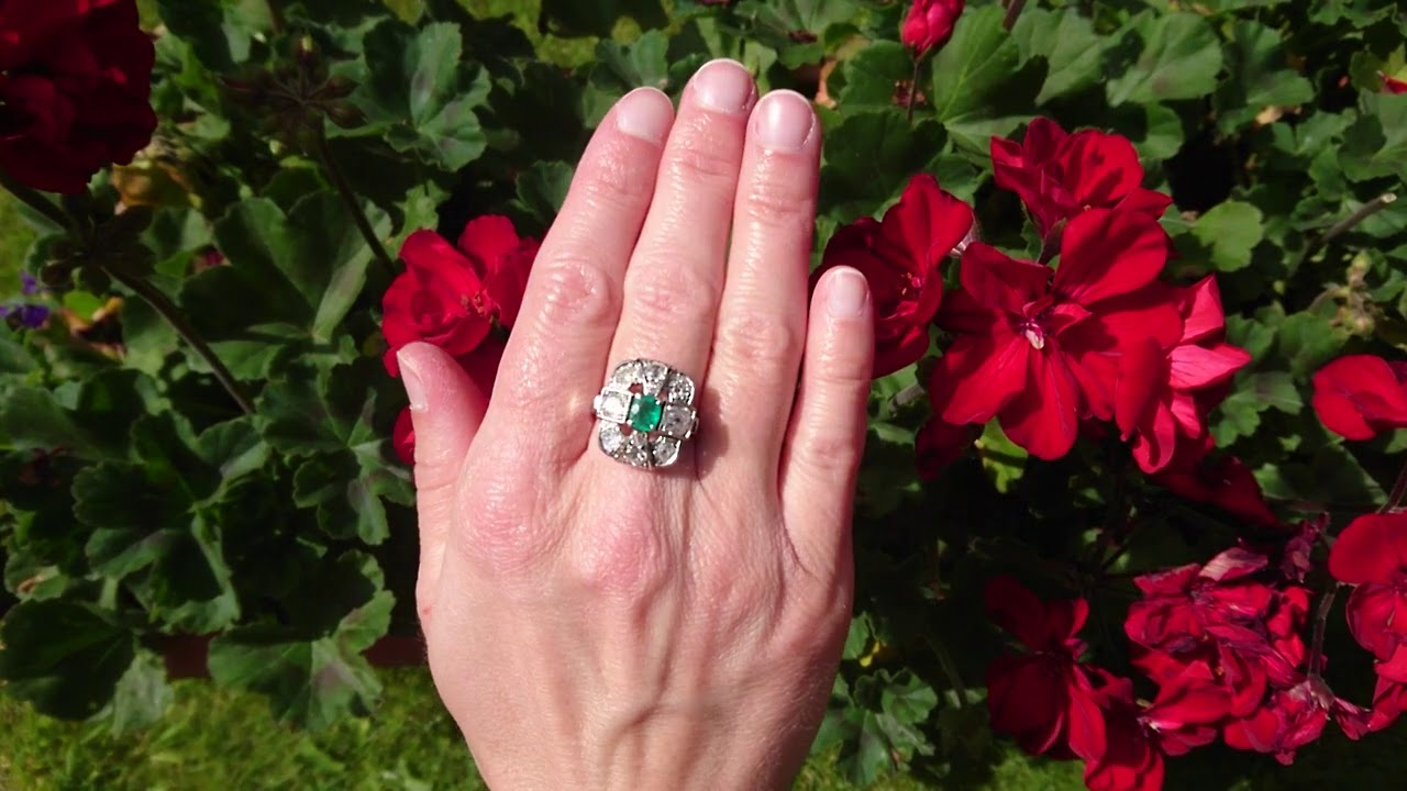 French Vintage Emerald & Diamond Cluster Ring