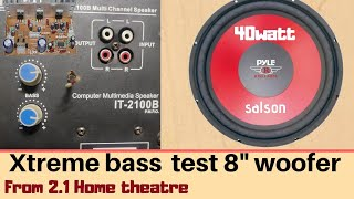 2.1 Home theatre With 8 inch woofer only bass test /TAH Electronics.