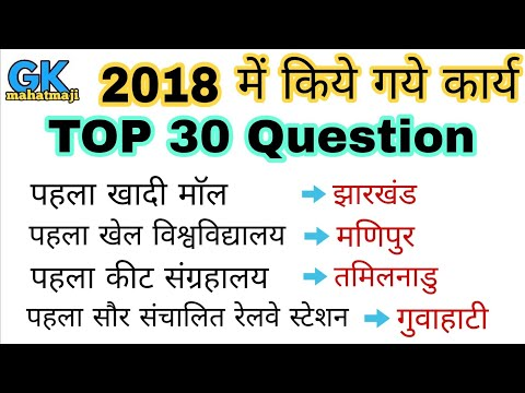 2018 के महत्वपूर्ण कार्य | TPO 30 | Current affairs Question | SSC, ALP CBT-2, RPF, RAILWAY, POLICE