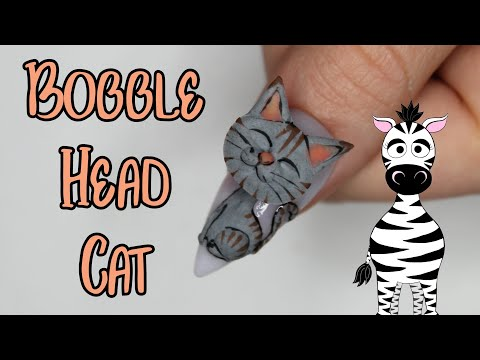 4D Cat Bobble Head Acrylic Nail Art Tutorial | MelodyMinutes thumbnail