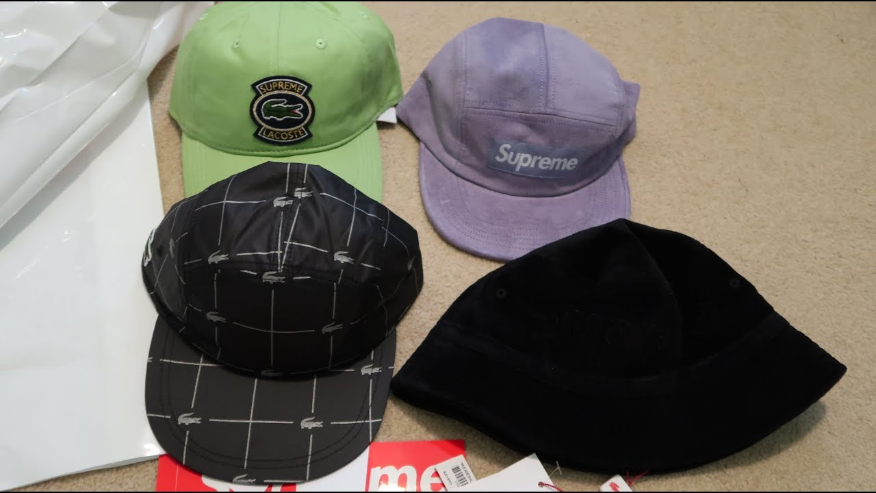 34ad7462 ... ireland supreme ss18 week 9 pickup unboxing lacoste collab hats 8a767  fb933