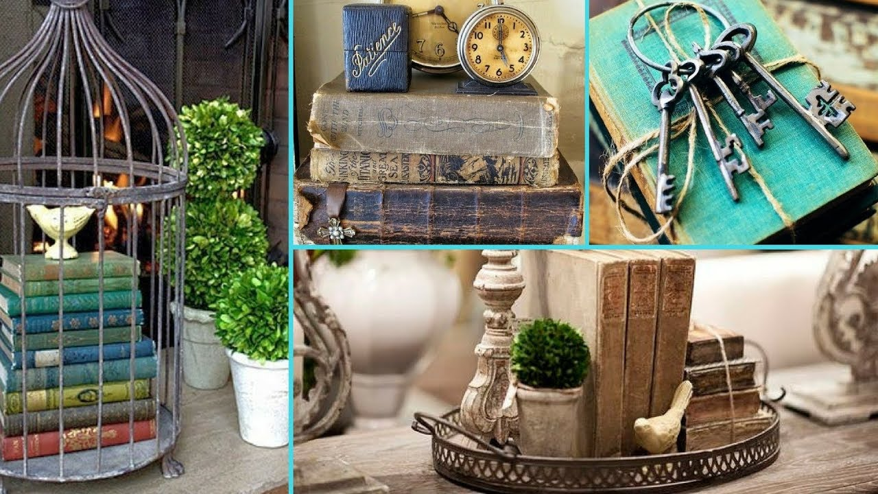Diy Rustic Shabby Chic Style Book Decor Display Ideas Home