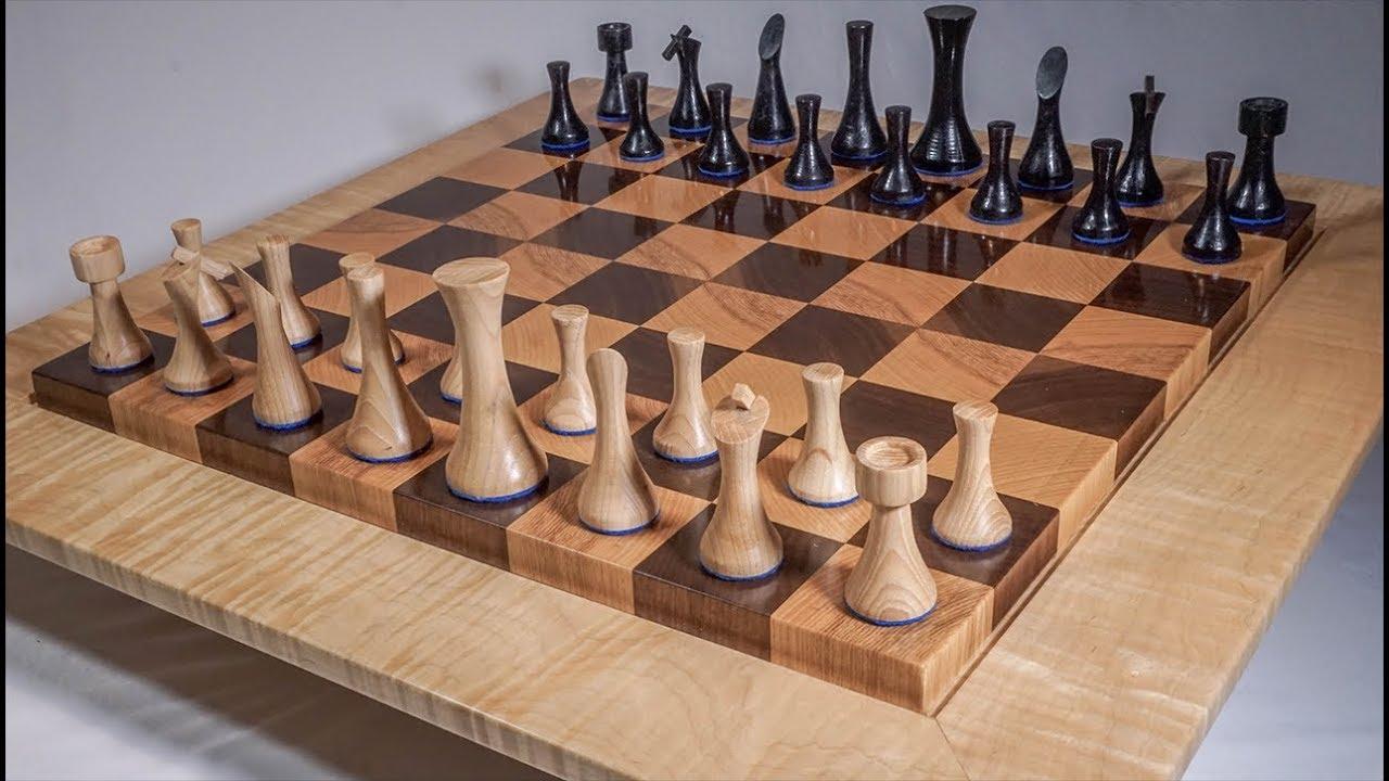 Woodturning A Modern Chess Set Youtube