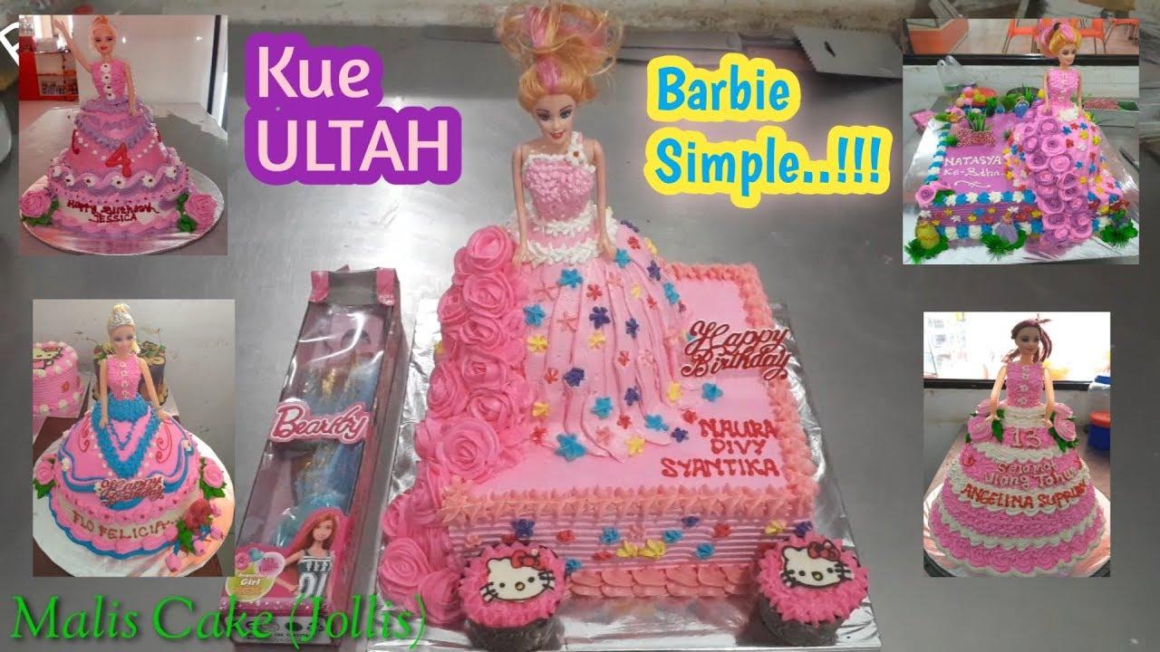 Cara menghias kue ULTAH Barbie pakai butter cream  kue ultah model barbie  simple