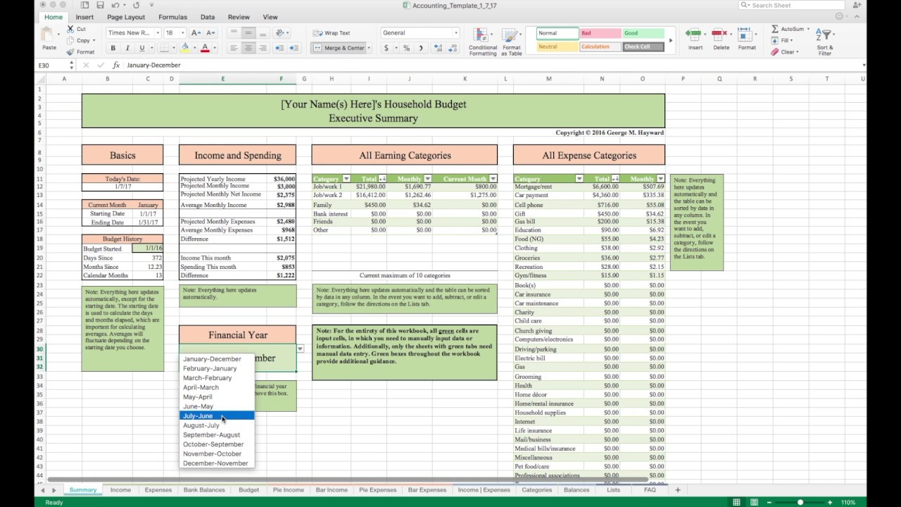 Household Budget Template And Tutorial Excel Youtube