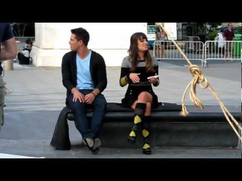 Lea Michele & Dean Geyer filming, NYC Washington Square Park, August 11th, 2012