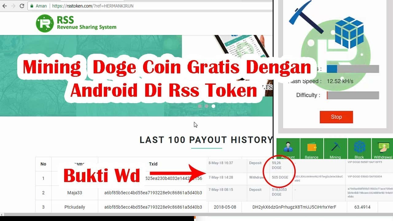Free Doge Coin With Android In Rss Token | Mining Bitcoin