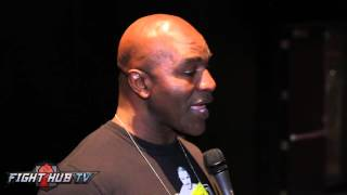 Evander Holyfield reacts to Canelo defending title at 155