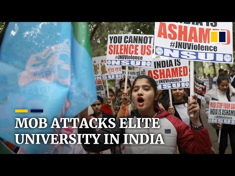 Students and teachers attacked during rampage at top university in India's capital New Delhi