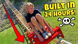 BUILT BACKYARD ROLLER COASTER IN 24 HOURS! *DERAILED*