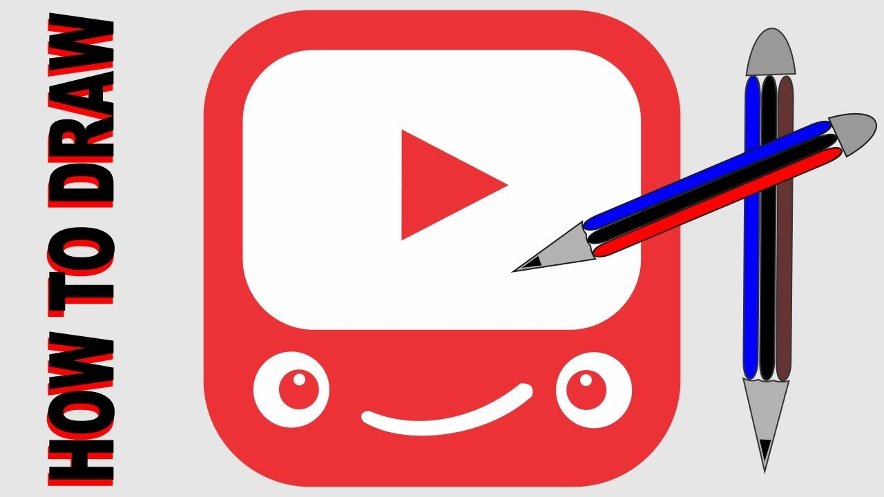 How To Draw Youtube Logo  Play Button New Brand Youtube Smiley Face