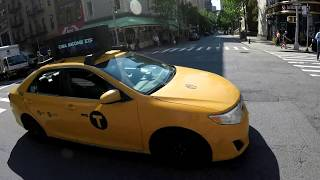 Red Light Running Yellow Taxi nearly hits cyclists and pedestrians in NYC