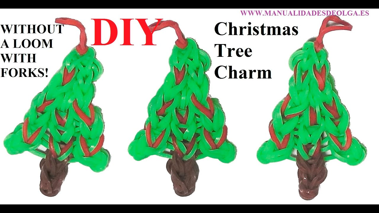 Christmas Tree Charm Without Rainbow Loom With 2 Forks Tutorial  - Christmas Tree Charms