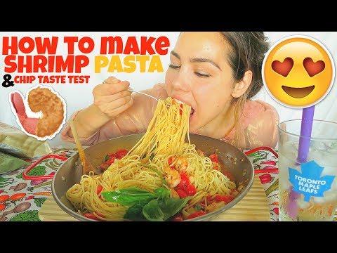 Shrimp Pasta Mukbang 먹방 Spaghetti Parmesan Eating Show