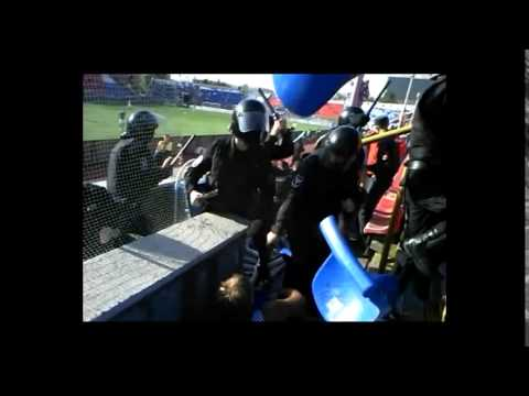 Police beat a handicapped supporter without legs!