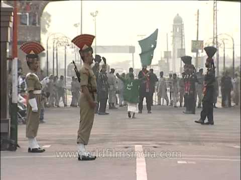 Pakistan and India opens their gate; soldiers start marching, Wagah Border
