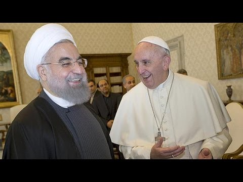 Pope receives Iran's President at Vatican with warm welcome and private meeting