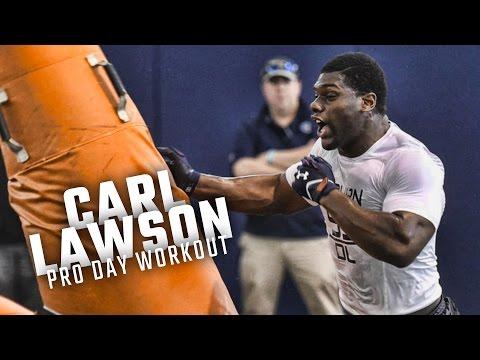 Watch DL Carl Lawson go through position drills at Auburn Pro Day