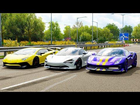 Forza Horizon 4 Drag race: McLaren 720S vs Ferrari 488 Pista vs Lamborghini Aventador LP750-4 SV