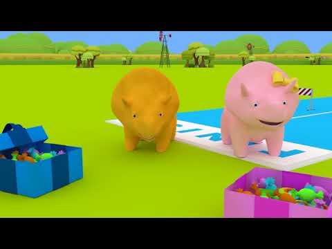 Download Youtube: Nauka Kolorów - Dino i Dina uczą się o kolorze Żółtym 👶 Bajki Edukacyjne dla Dzieci