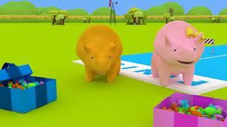Nauka Kolorów - Dino i Dina uczą się o kolorze Żółtym 👶 Bajki Edukacyjne dla Dzieci