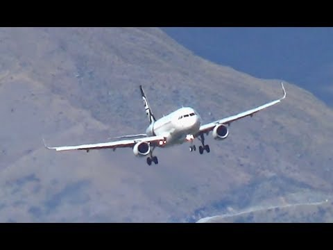 Awesome Late Turn Air New Zealand A320 Landing Queenstown Airport || ZK-OXD