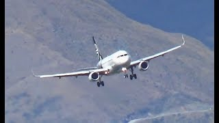 Awesome Late Turn Air New Zealand A320 Landing Queenstown Airport || ZK-OXD thumbnail